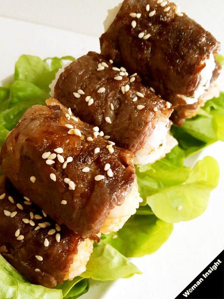 牛肉,肉巻きおにぎり,簡単