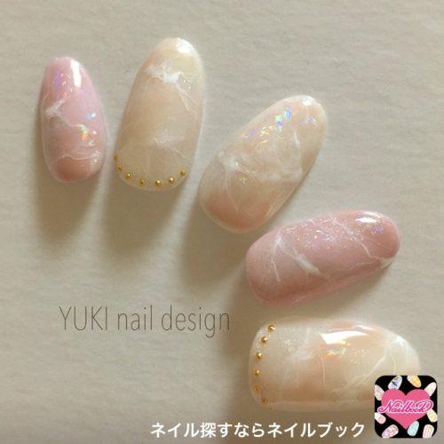 ■白×ピンクのパステルマーブル