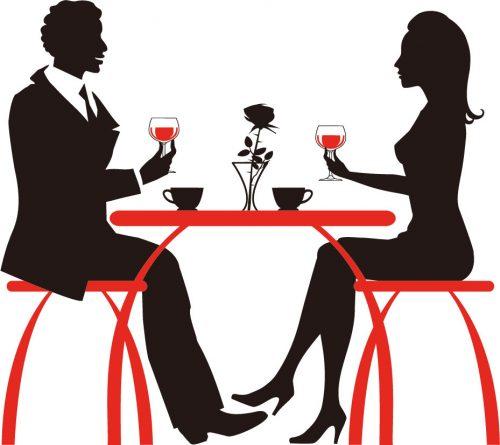 レストランにいるカップル