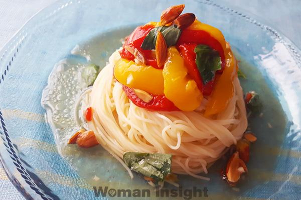 夏,麺レシピ,アレンジ,冷麦,カポナータ,パスタ,美肌,むくみ