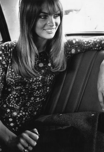 Jean Shrimpton, a top 1960's model, in the back of a car. (Photo by Meagher/Getty Images)