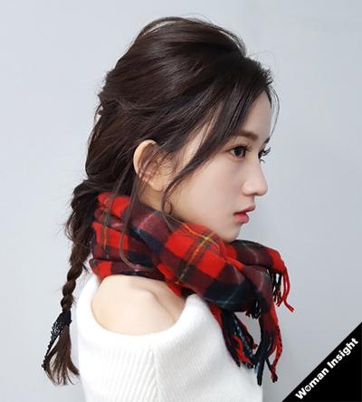 くるりんぱ+三つ編みヘア