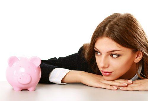 貯金箱, 女性, お金