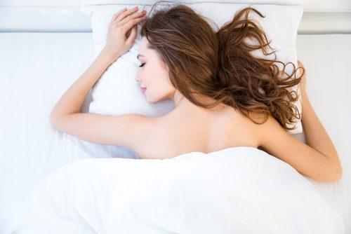 寝る,恰好,女子,パンツ,裸
