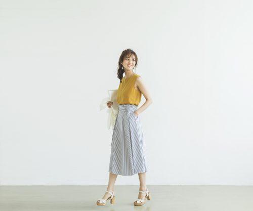爽やかなストライプスカートが映える今日のコーデ