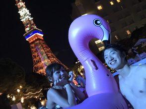 CanCam,Night Pool,ナイトプール,インスタ映え,写真映え,フォトジェニック,東京タワー,ビッグフロート,カップル,デート