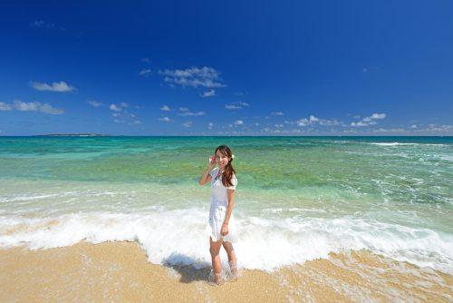 海, ビーチ, 女性, 青, 夏, 浜辺,
