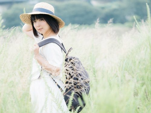麦わら帽子, 草原, 女性,