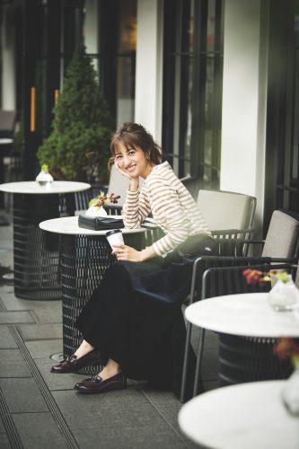 堀田茜, 秋, ファッション, コーディネート, ボーダー, スカート