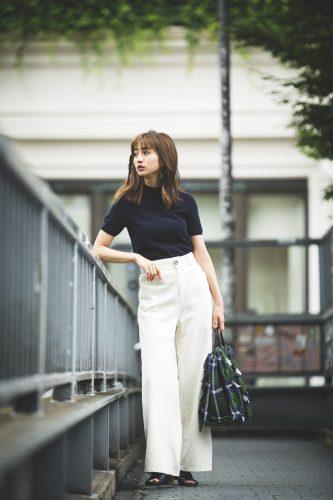 堀田茜, 秋, ファッション, コーディネート, ワイドパンツ, 半袖