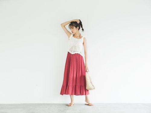 朱赤のマキシスカートが大人っぽい今日のコーデ