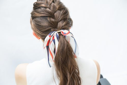 スカーフ,ヘアアレンジ,ひとつ結び,編み込み