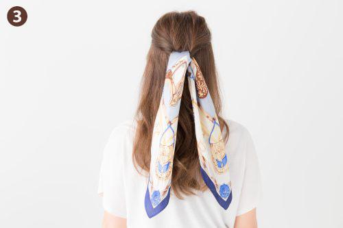 スカーフ,ヘアアレンジ,編み込み,三つ編み