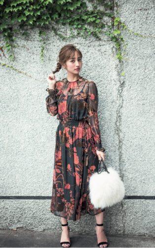 ZARA,ヴィンテージ風,花柄,ファッション堀田茜,コーデ,ワンピース