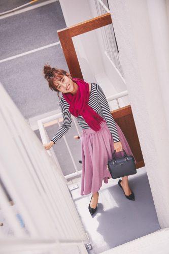堀田茜, 秋, ファッション, コーディネート, ベリー, スカーフ, ボーダー, スカーフ