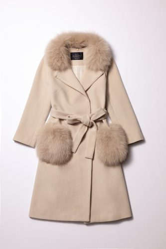 襟ファー付きポケットファーコート