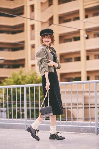 楓, 秋, ファッション, コーディネート, ベロア, ワンピース, 帽子