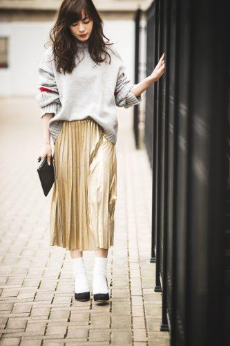 スカート, ゴールド, 秋, ファッション, コーディネート, ニット