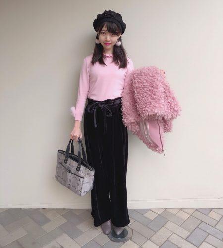 CanCam it girl,七瀬莉砂,GU,ベロア,ワイドパンツ