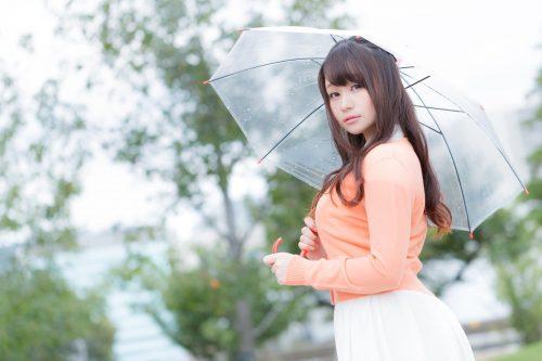 ビニール傘をもつ女性