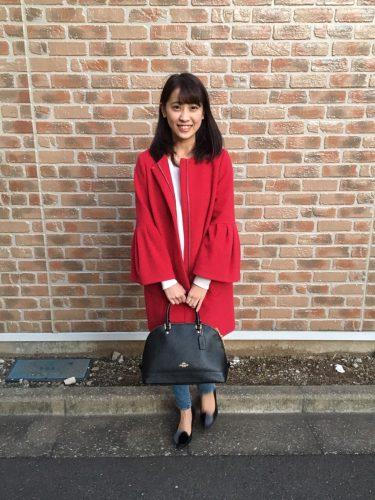CanCam it girl,小湊愛巳,赤,コート,ファッション