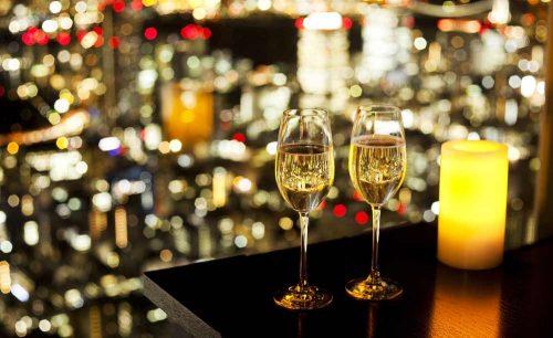 Rooftop Bar/アンダーズ東京、スパークリングワイン、夜景