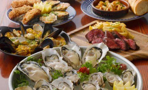 オイスター&ワイン ペスカデリア銀座店、生牡蠣、ステーキ、パエリア、牡蠣フライ、焼きガキ、アヒージョ