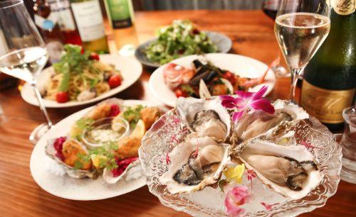シーフード酒場 牡蠣スター、生牡蠣、牡蠣フライ、サラダ、スパークリングワイン