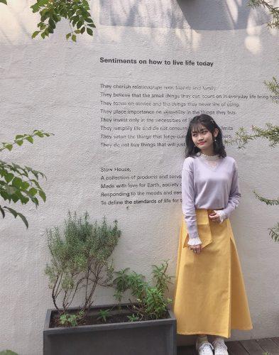 CanCam it girl谷山響のGUのチノフレアマキシスカートコーデ