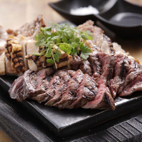 ステーキ3種盛り合わせ,みなせ牛,地鶏,国産豚,CarneTribe