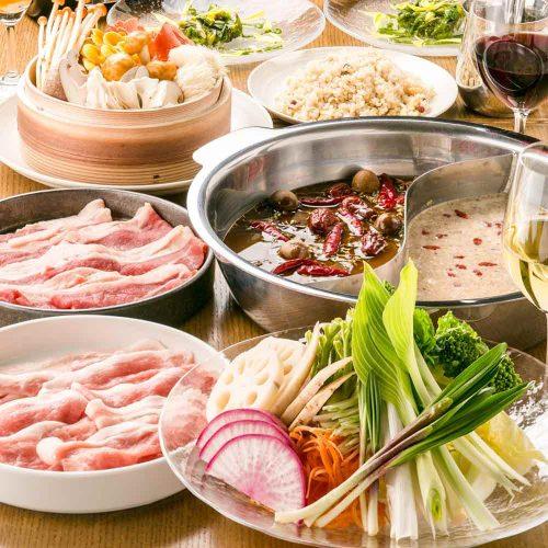 オーガニック野菜×バルkitchen kampo's、お鍋、野菜、豚肉