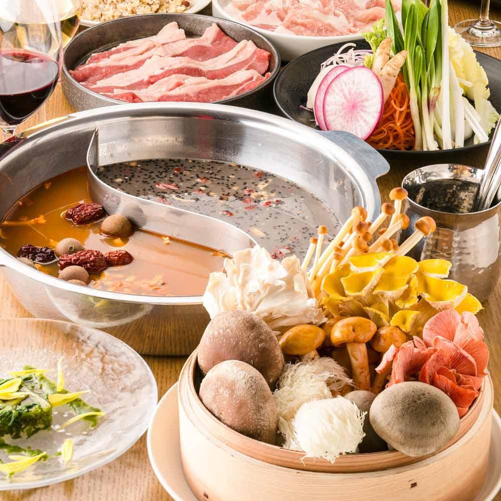 オーガニック野菜×バルkitchen kampo's、お鍋、きのこ、お肉