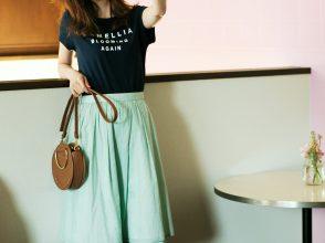 カラーフラワーリバーシブルスカート×ロゴT