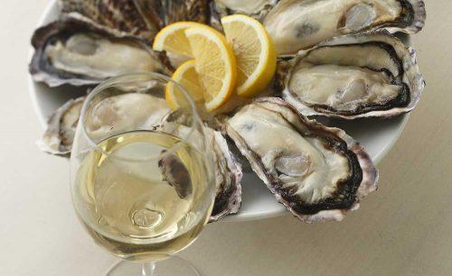 オイスターテーブル 上野さくらテラス店、牡蠣、生牡蠣、白ワイン