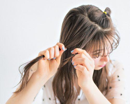 ■ゴムだけで簡単に!カジュアルでかわいい前髪アレンジ
