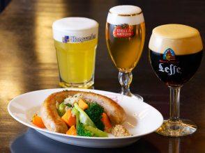 Belgian Brasserie Court Brugge、ビール、ソーセージ