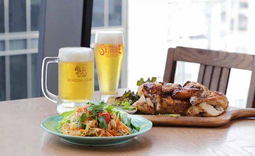 センディーテラスの料理とビール