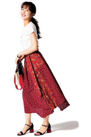 花柄×ドットのスカートは最高にジェニックな存在