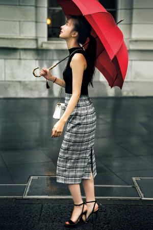 美人度を上げるならリブニット×タイトスカートでⅠラインを演出
