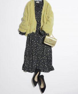 トレンドの「渋色」カーデで花柄ワンピを秋っぽかわいくアップデート!