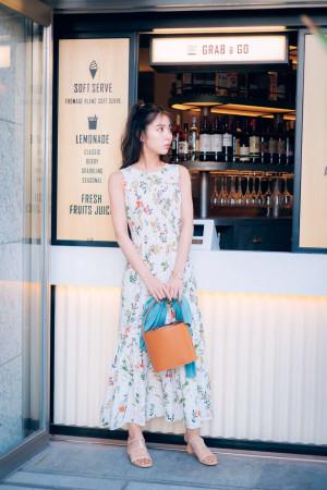 花柄マキシワンピで晴れの日を満喫♡コーデ