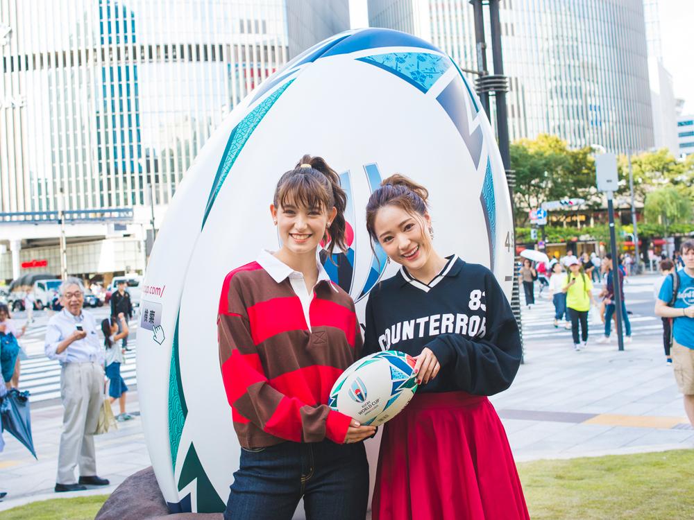 ラグビーワールドカップ2019™日本大会開催1年前イベント、トラウデン直美、まい、chay、ラグビー、ラグビーワールドカップ