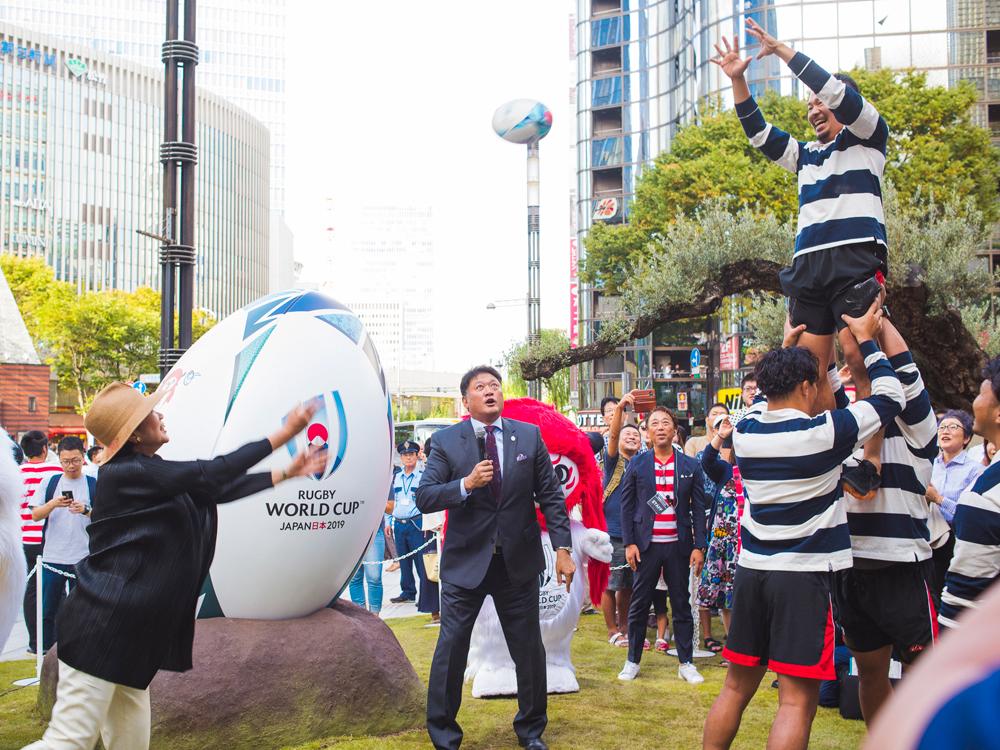 ラグビーワールドカップ2019™日本大会開催1年前イベント、ラグビー、ラグビーワールドカップ、小池百合子、都知事、ラグビー体験