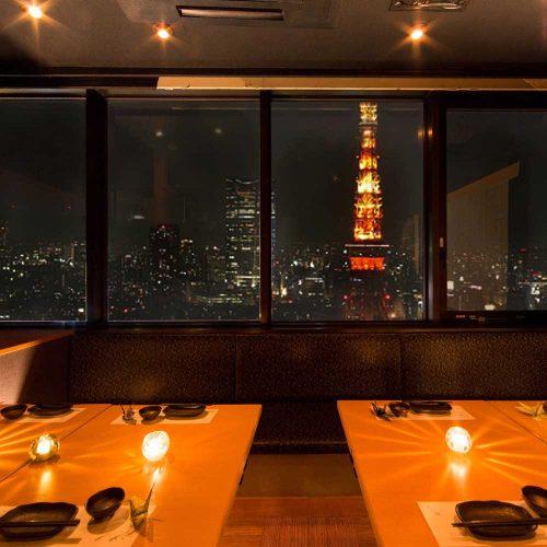 和チーズ料理専門店 和ちいず工房 大門・浜松町店の店内と東京タワー