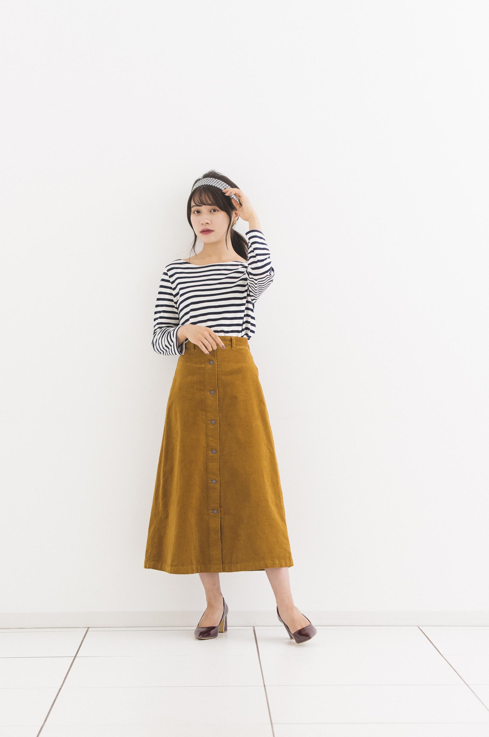 GU,コーデュロイフロントボタンロングスカート