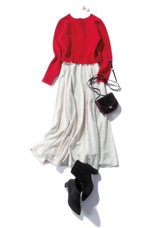 赤ニットを投入して優しいスカートをドラマティックに!
