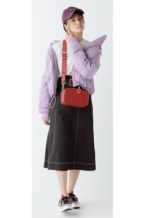 ショート丈ダウンコートは×ロングスカートで甘辛MIX