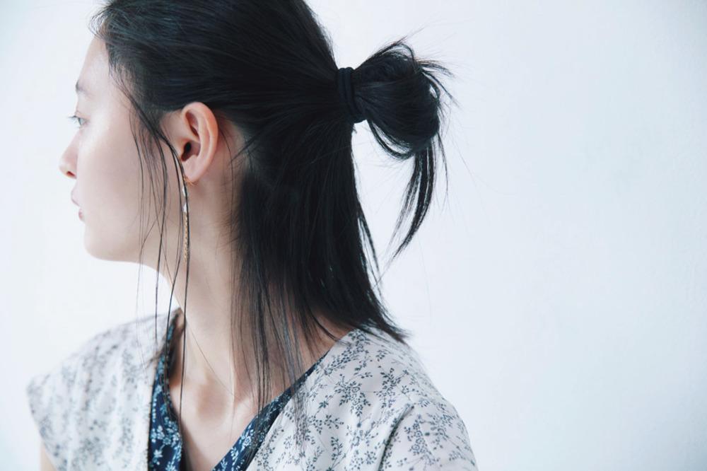 前髪なしの簡単ハーフアップ