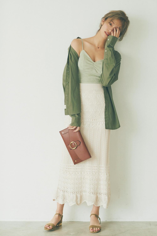 グリーン系のグラデ配色で大人のロンスカスタイルに♡