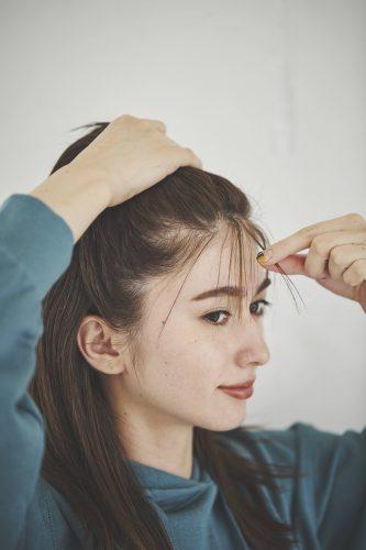 ■薄めに下ろして束にしたシースルー前髪